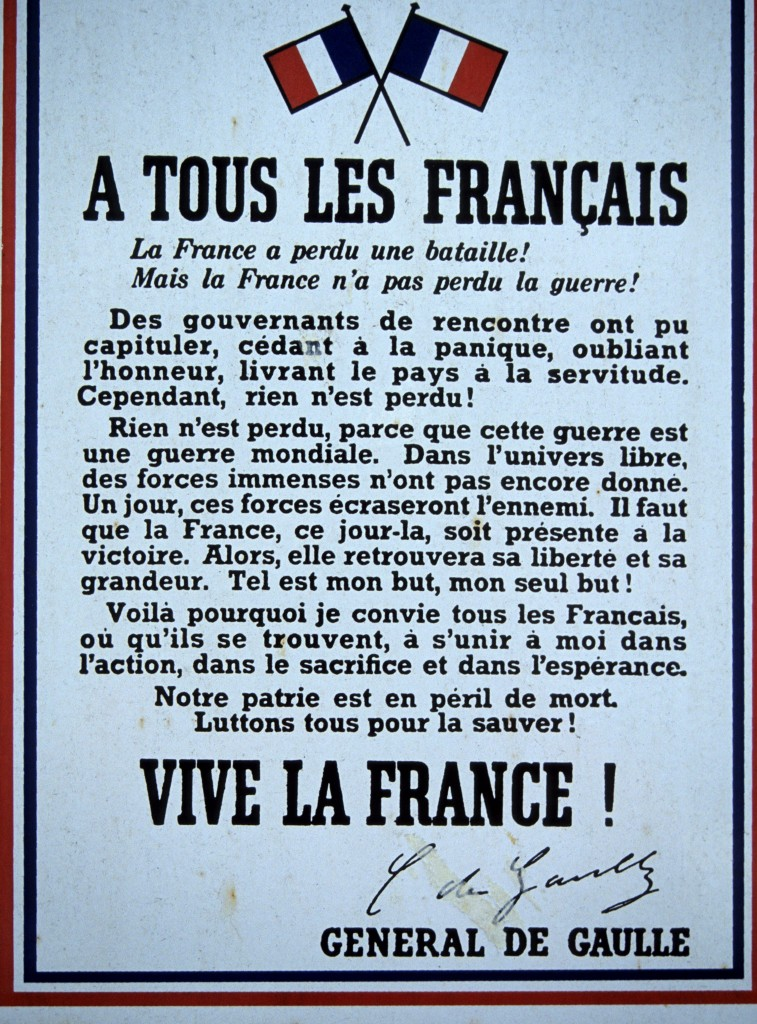 Proclamation of De Gaulle to the French